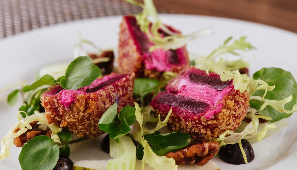 Hilton Garden Inn Garden Grille - Breaded goats cheese and beetroot fritter.jpg