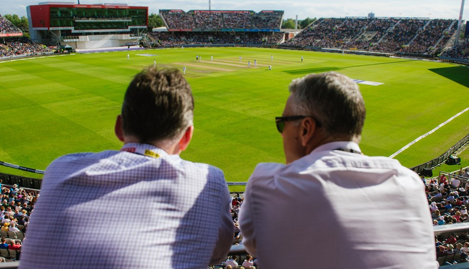 Guests enjoying internaitonal cricket from their bedroom at the Hilton Garden Inn Manchester Emirates Old Trafford.jpg