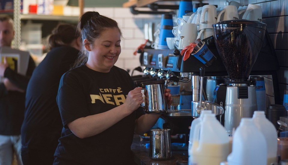 Emirates Old Trafford Caffe Nero staff enjoy serving their first customers.jpg